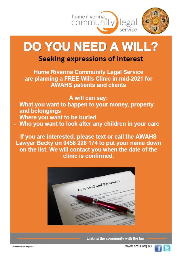 Wills Day - Hume Riverina Legal Service
